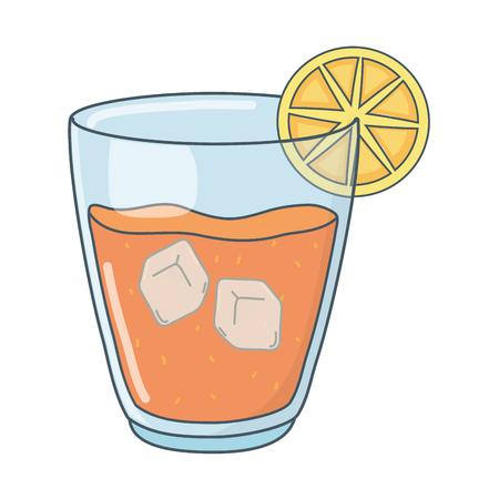 delicious tasty refresh fruit orange juice glass cartoon vector illustration graphic design