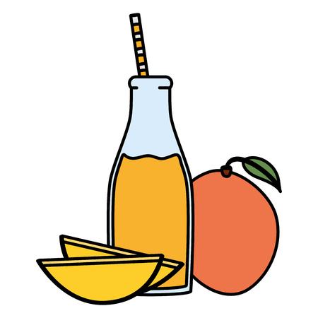 fresh mango juice fruit in botttle with straw