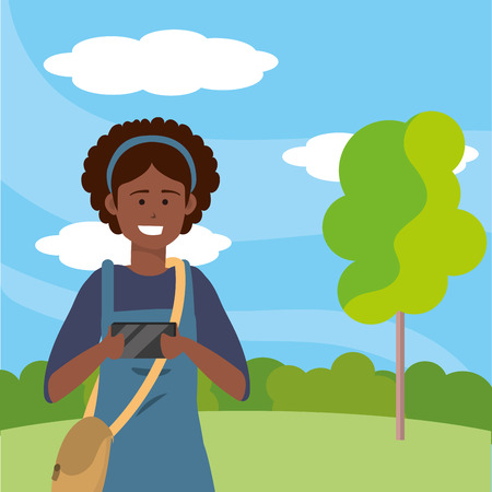 Millennial student afro woman wearing overalls using smartphone taking selfie outdoors background with trees grass and bushes portrait vector illustration graphic design