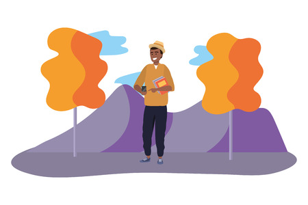 Millennial student afro man wearing hat using smartphone texting outdoors colorful nature background with trees vector illustration graphic design