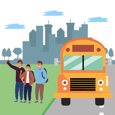 Studenten verschiedener Gruppenmänner, die Pullover und Jacke mit Smartphone tragen, die Selfie-Schulbushaltestelle Straße Stadtbild-Hintergrund-Vektor-Illustration-Grafik-Design nehmen