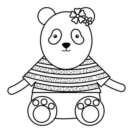 cute female bear panda childish character vector illustration design Illustration