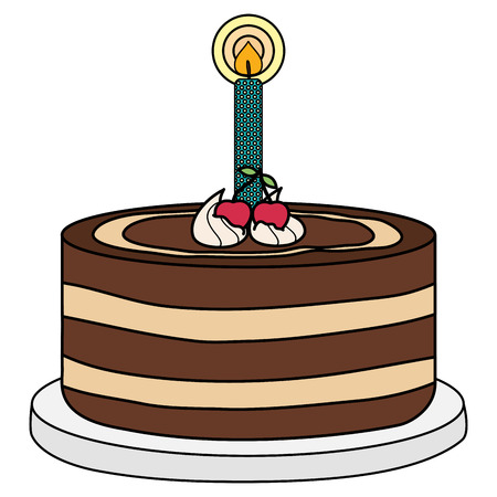 delicious sweet cake with cherries and candles vector illustration design Illusztráció