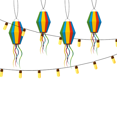 festive party lanterns celebration scene cartoon vector illustration graphic design