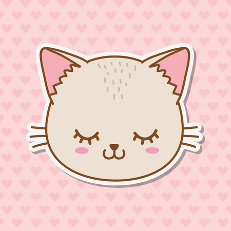cat with heart background icon cartoon vector illustration graphic design Imagens - 122748651