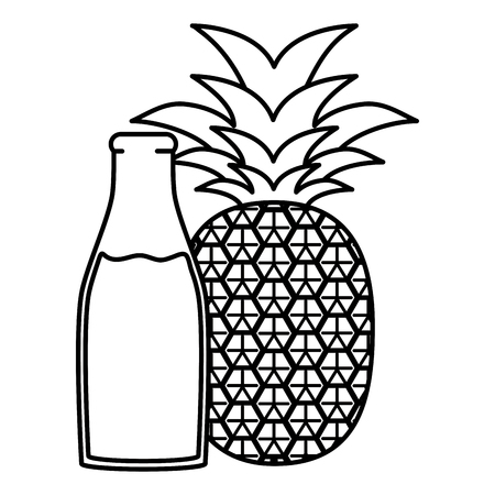 fresh pineapple juice fruit in botttle vector illustration design Çizim