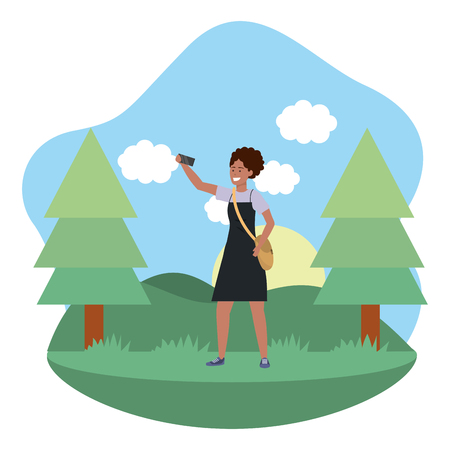 Millennial student afro woman wearing dress outdoors taking selfie using smartphone grass and trees nature background frame vector illustration graphic design