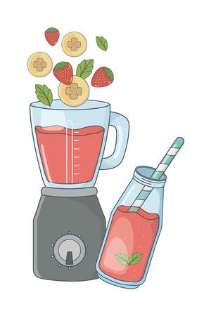delicious healthy fruits mix smoothie inside blender cartoon vector illustration graphic design Vector Illustratie