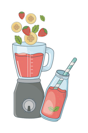 Deliziosi frutti sani mescolare frullato all'interno del frullatore cartoon illustrazione vettoriale graphic design Vettoriali