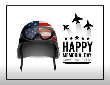 military helmet and airplanes to memorial day vector illustration 向量圖像
