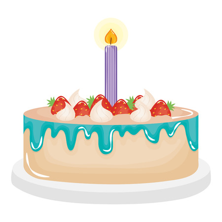 delicious sweet cake with strawberries and candles vector illustration design