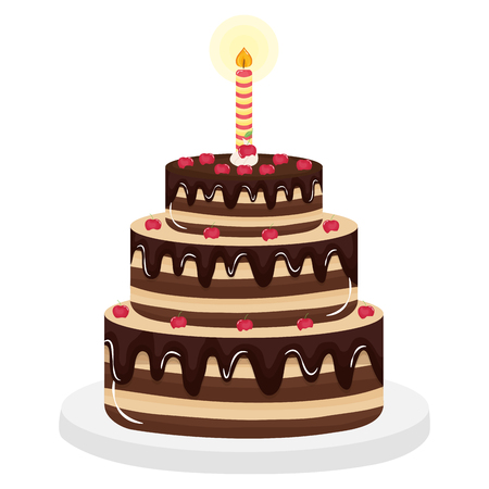 delicious sweet cake with cherries and candles vector illustration design Фото со стока - 122748771