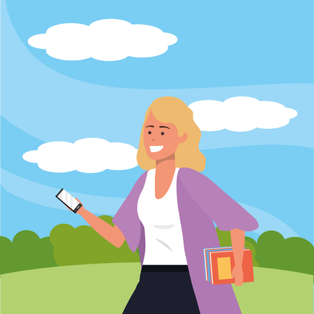 Millennial student blonde wearing kimono and holding books using smartphone texting outdoors background with trees grass and bushes portrait vector illustration graphic design