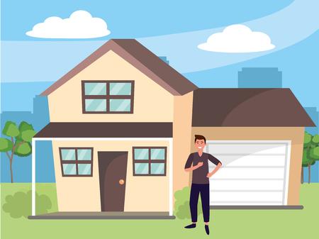 casual happy people young man at urban big house home cartoon vector illustration graphic design