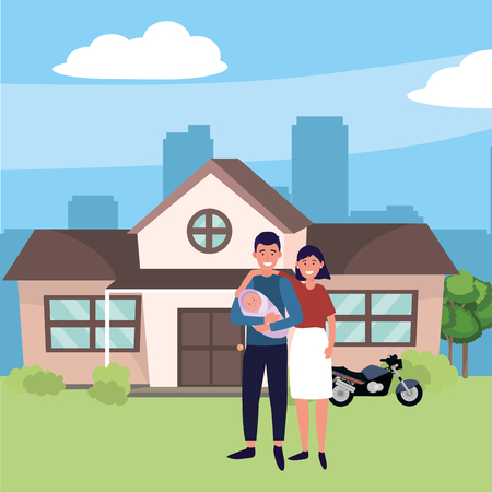 family baby care couple with baby at urban big house home cartoon vector illustration graphic design