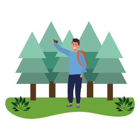 Millennial student man wearing sweater and backpack outdoors taking selfie using smartphone grass and trees nature background vector illustration graphic design