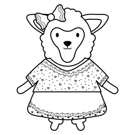 cute female sheep childish character vector illustration design  イラスト・ベクター素材