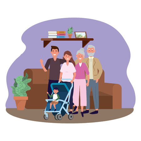 family with baby carriage avatar cartoon character and balloons in the living room vector illustration graphic design 向量圖像