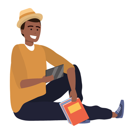 Millennial student sitting browsing on smartphone smiling taking selfie afro holding book wearing hat isolated