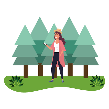 Millennial student purple dyed hair woman wearing kimono and hat outdoors texting using smartphone grass and trees nature background vector illustration graphic design