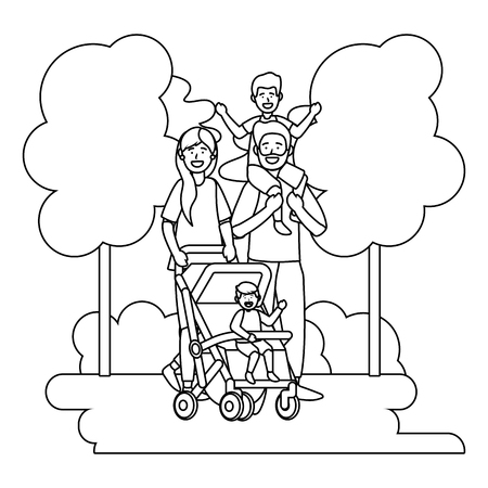 couple with baby carriage avatar cartoon character with children black and white vector illustration graphic design