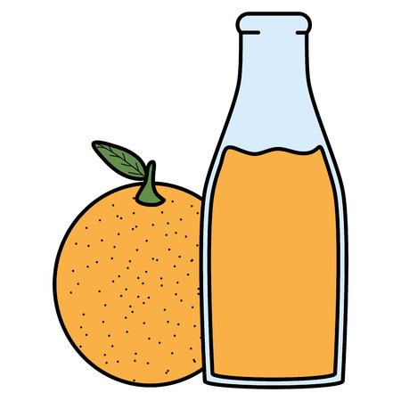 fresh orange juice fruit in botttle vector illustration design