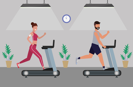 fitness exercise couple running over treadmill workout healthy fit lifestyle gym scene cartoon vector illustration graphic design 일러스트