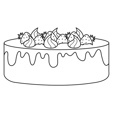 delicious sweet cake with strawberries vector illustration design Фото со стока - 122752656