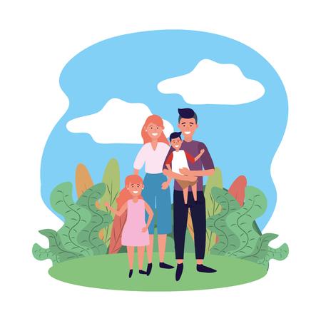 couple with children avatar cartoon character park landscape vector illustration graphic design