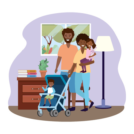 couple with baby carriage avatar cartoon character with children in the living room vector illustration graphic design