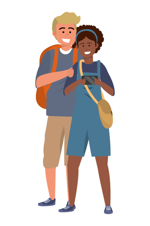 Millennial student couple smiling taking selfie browsing apps afro blond backpack purse