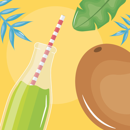 fresh juice kiwi fruit in botttle with straw in leafs palms vector illustration
