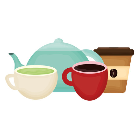 kitchen teapot and coffee drinks vector illustration design Stock Illustratie