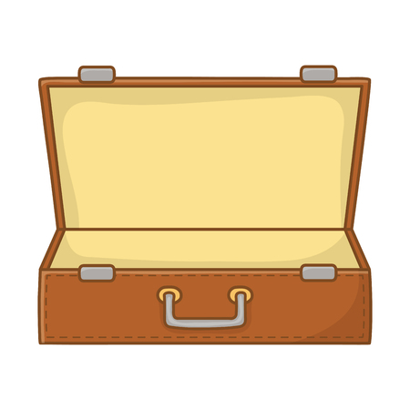 Tourist trip summer travel open suitcase empty with handle adventure exploration isolated vector illustration graphic design Illustration