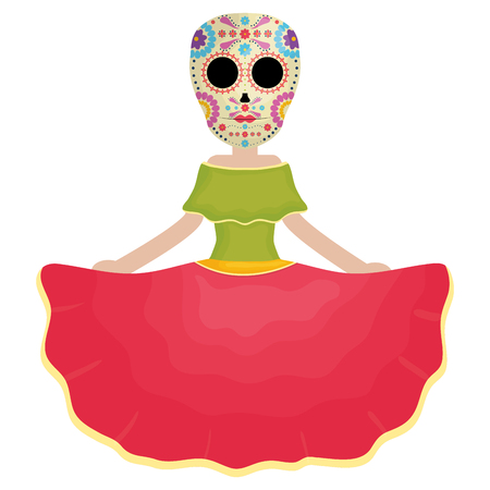 traditional katrina mexican character vector illustration design Stock Illustratie