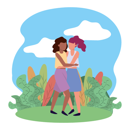 young women nature outdoor scene cartoon vector illustration graphic design