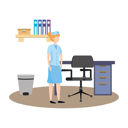 healthcare medical doctor woman at doctors office cartoon vector illustration graphic design