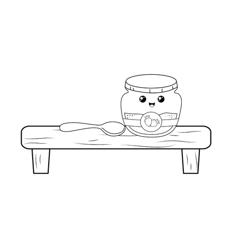 strawberry jam pot in shelf kawaii character vector illustration design