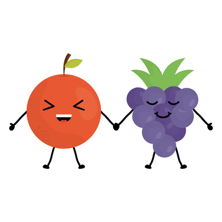 delicious orange and grapes kawaii characters vector illustration design Illustration