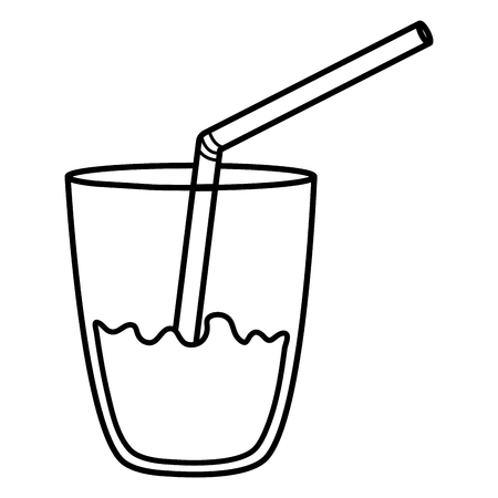 glass with juice fruit and straw vector illustration design