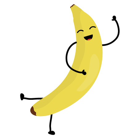 delicious banana fruit kawaii character vector illustration design