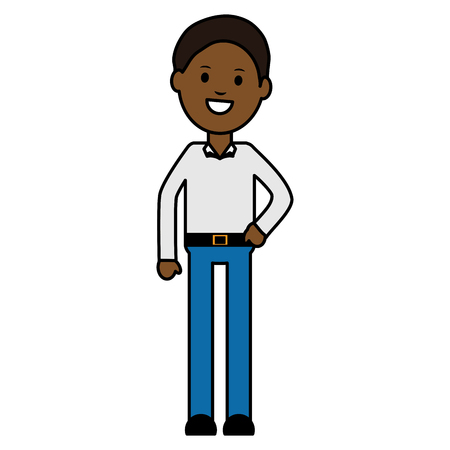 young black man avatar character vector illustration design