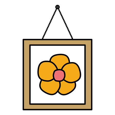 square picture flower hanging decoration vector illustration design