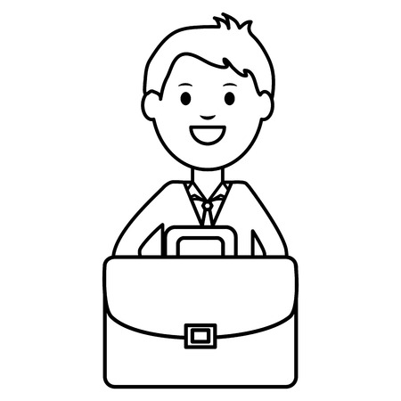 young businessman with portfolio vector illustration design
