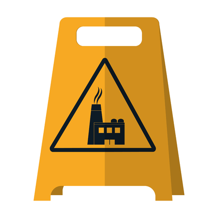 plastic caution emblem factory pollution vector illustration Ilustração