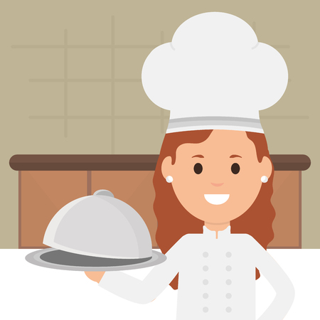 young female chef with tray server vector illustration design