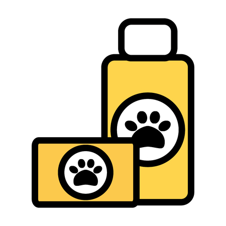 pet shampoo bottle and soap vector illustration design