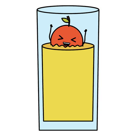 glass with juice orange fresh fruit kawaii character vector illustration design Standard-Bild - 122693505