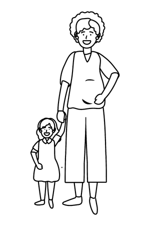 pregnant woman with child avatar cartoon character black and white vector illustration graphic design Vectores