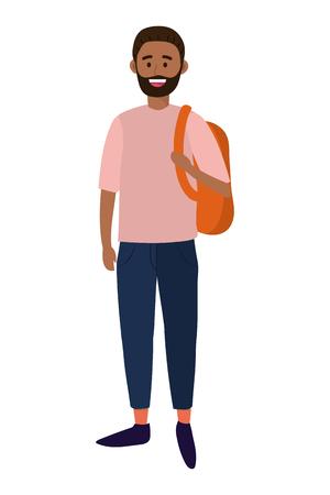 Jeune homme heureux portant un sac à dos cartoon vector illustration graphic design Vecteurs
